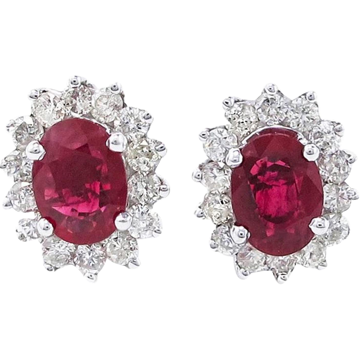 Ruby and Diamond 18K White Gold Earrings