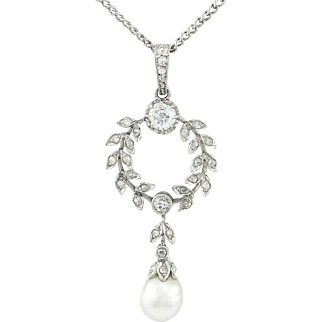 Belle Époque Diamond Pearl Platinum Necklace