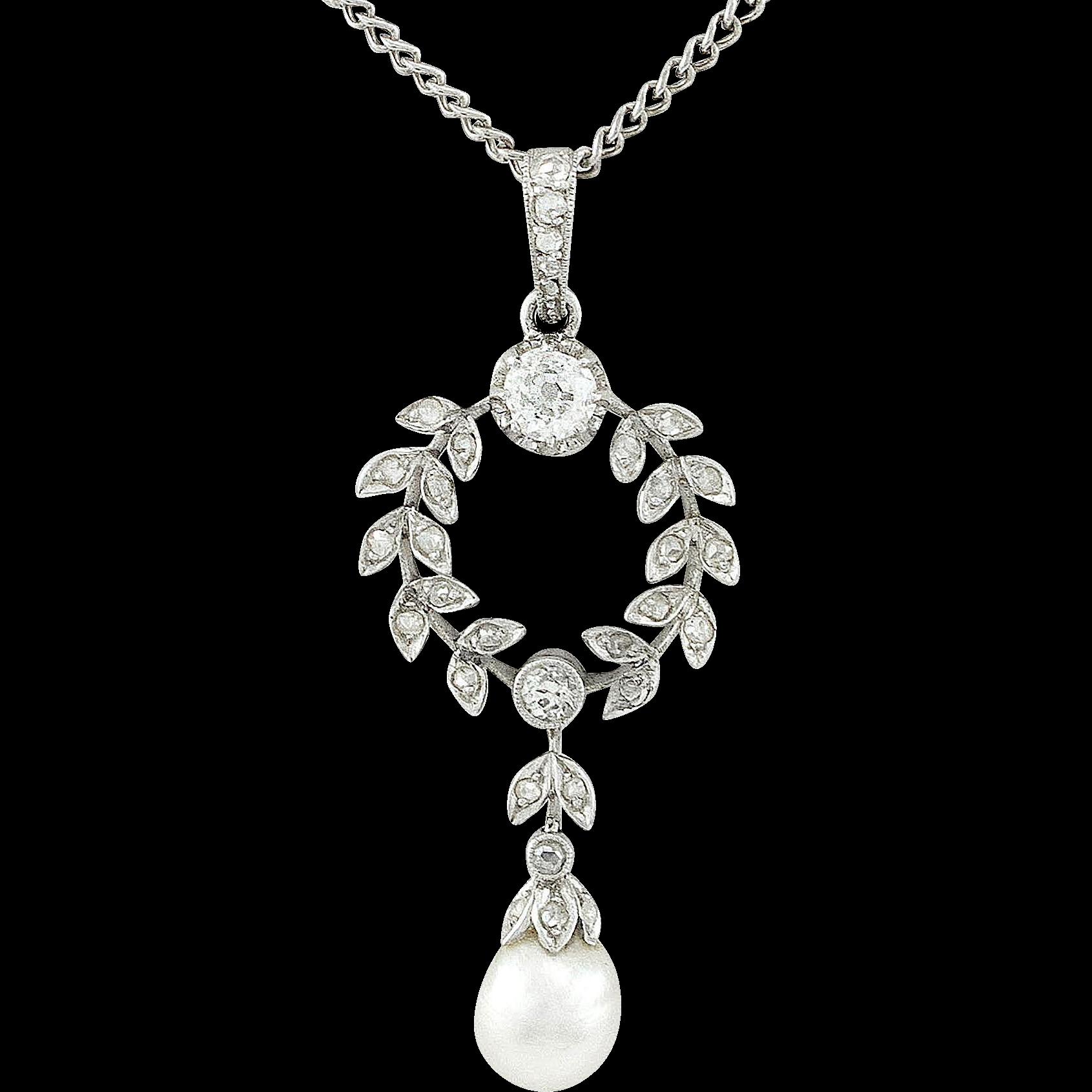 Belle Époque Diamond Pearl Platinum Necklace