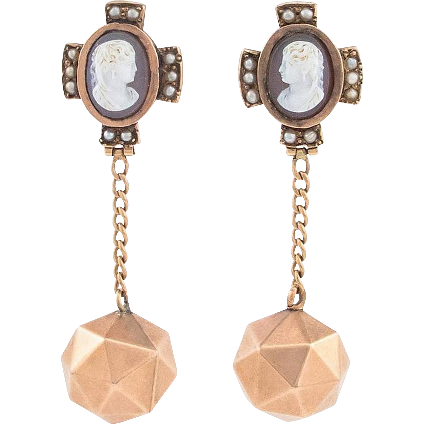 Victorian Cameo Hard Stone Pink Gold Drop Earrings