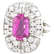 Pink Sapphire Diamond White Gold Ring