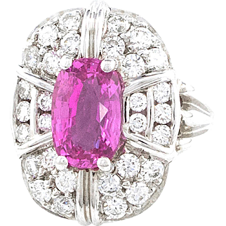 Pink Sapphire Diamond White Gold Ring
