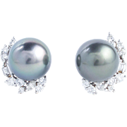 Tahitian Pearl and 1.70 Carat Fancy Cut Diamond Earrings