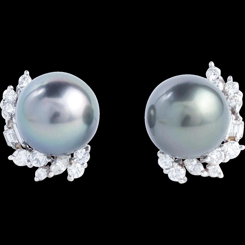 Tahitian Pearl and 1.70 Carat Fancy Cut Diamond Earrings
