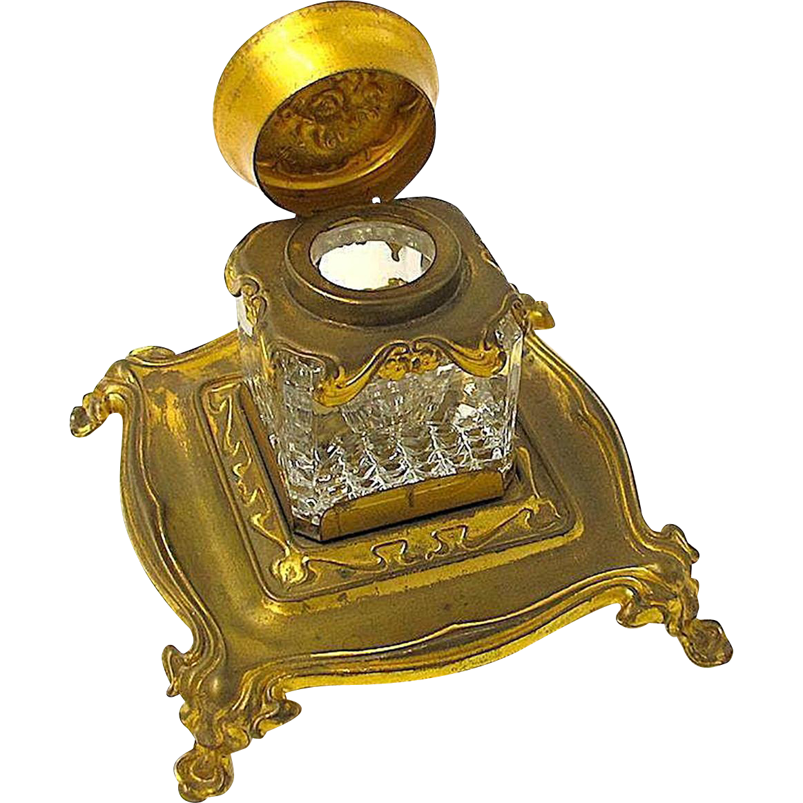 19th Century Ink Stand with Crystal Well