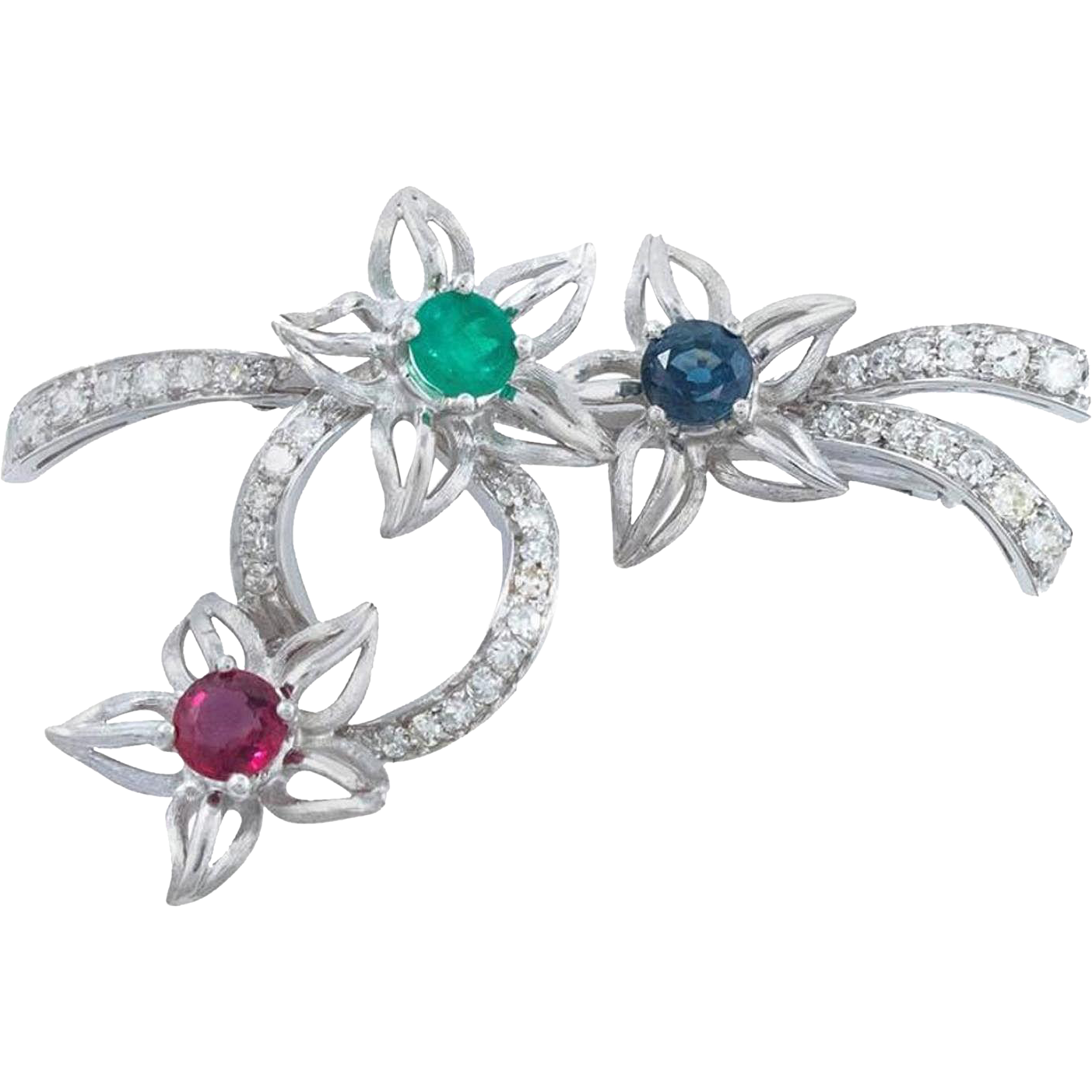 Platinum Brooch with Emerald, Ruby and Blue Sapphire and Diamonds