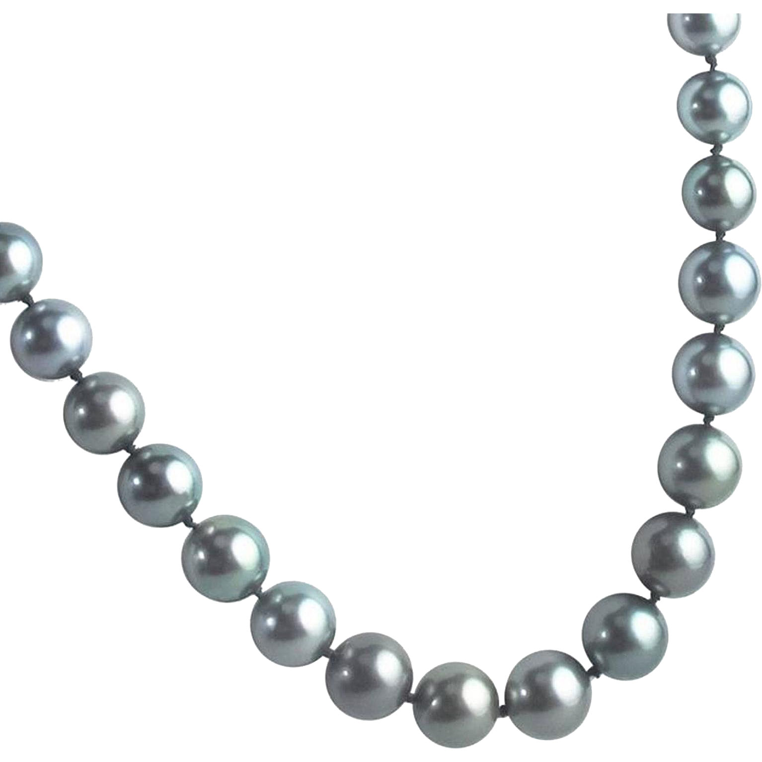Fine Tahitian Pearls with Diamond Set 14 Karat White Gold Clasp