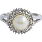 Japanese Akoya Pearl and Diamond White Gold Ring