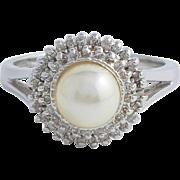 Japanese Akoya Pearl and Diamond White Gold Ring