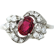 Intense Red Ruby and Diamond Ring Set in Palladium