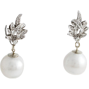South Sea Pearl Diamond 18K White Gold Convertible Drop Earrings