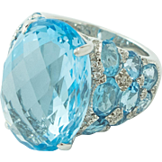 Huge Blue Topaz Diamond 18 Karat White Gold Ring