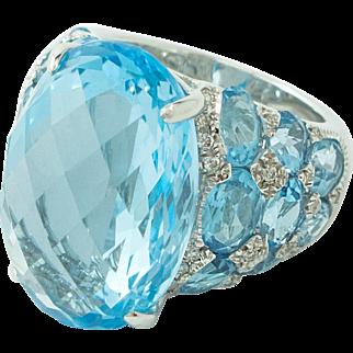 Huge Blue Topaz Diamond 18 Karat White Gold Ring