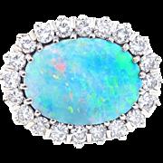 Australian Black Opal and Diamond Platinum Ring