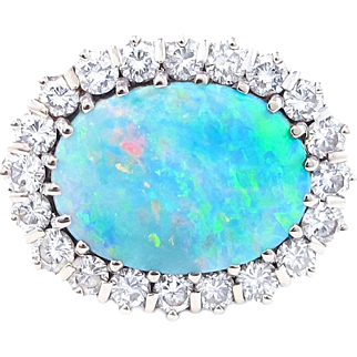 Australian Black Opal and Diamond Platinum Ring