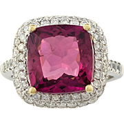 Fine Tourmaline Diamond Ring Platinum/18Karat Gold