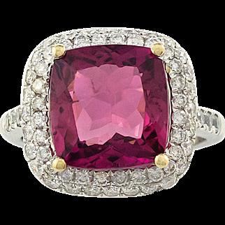 Fine Tourmaline Diamond Ring Platinum/18Karat Gold