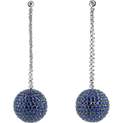17.8 Carat Pavé Blue Sapphire and Diamond Earrings in 18K White Gold