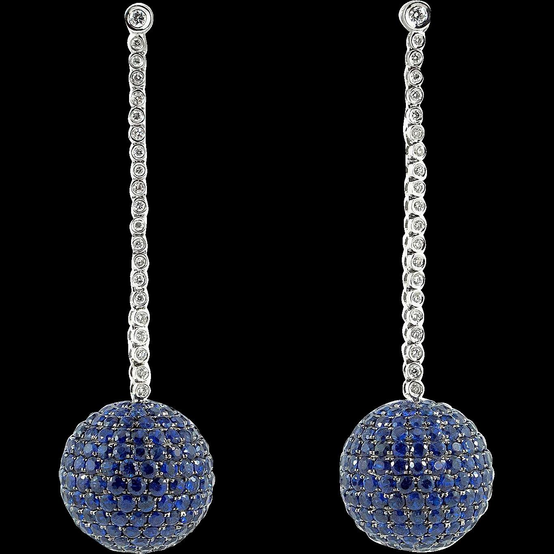 17.8 Carat Pavé Blue Sapphire and Diamond Earrings in 18K White Gold
