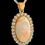Australian Crystal Opal and Diamond 14K Gold Necklace