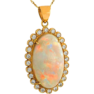 Australian Crystal Opal and Diamond 14K Gold Necklace