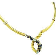 Beni Sung 7.59 Carat, 18K Aquamarine Diamond Sapphire Gold Necklace with Original Drawing