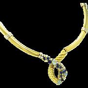 Beni Sung 7.59 Carat, 18K Aquamarine Diamond Sapphire Gold Necklace with Original Drawing