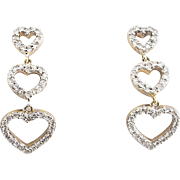 Diamond Hearts Drop Earrings - 14 Karat White Gold