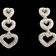 Diamond Hearts Drop Earrings - 14 Karat White Gold