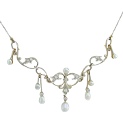 Edwardian Diamond Pearl Gold Garland Necklace