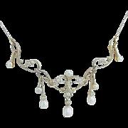 Edwardian Diamond Pearl Gold Garland Necklace