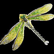 Diamond Sapphire Tsavorite 18K Gold Dragonfly Brooch