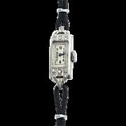 Art Deco Ladies Platinum Diamond Wristwatch