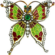 Plique a Jour Enamel Diamond and Gold Butterfly Brooch