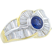 7.92 Carat Diamond and Sapphire Ring