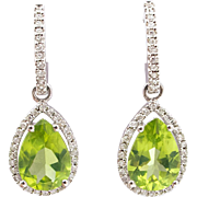 Pretty Peridot Diamond Earrings