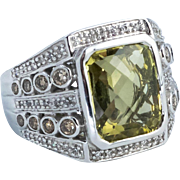 Cushion Cut Green Quartz and Diamond Ring, 14 Karat White Gold