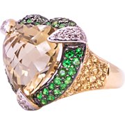 Heart Shaped Citrine Tsavorite Garnet Sapphire and Diamond Yellow Gold Ring