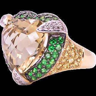 Heart Shaped Citrine Tsavorite Garnet Sapphire and Diamond 14 Karat Yellow Gold Ring