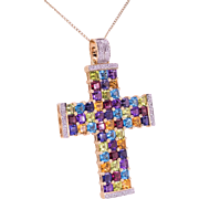 Diamond and Multicolor Gemstone Gold Cross Pendant