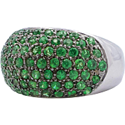 2.12 Carat Tsavorite Garnet White Gold Band Ring