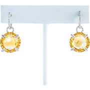 Sumptuous Citrine Diamond White Gold Drop Earrings