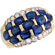 Bodacious Blue Sapphire and Diamond Band