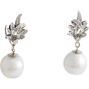 South Sea Pearl Diamond 18K White Gold Convertible Drop Earrings