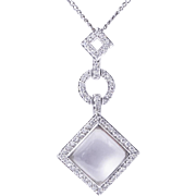 Rock Crystal and Diamond Gold Pendant Necklace