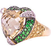 Heart Shaped Citrine Tsavorite Garnet Sapphire and Diamond 14 Karat Yellow Gold Ring