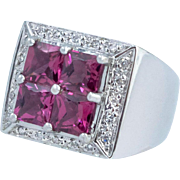 Pink Tourmaline and Diamond Ring, 14 Karat White Gold