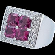 Pink Tourmaline and Diamond Ring, 14 Karat White Gold