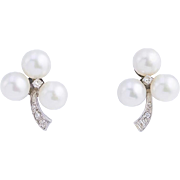 Graceful Cultured Pearl and Diamond Earrings