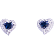 Stunning Blue Sapphire and Diamond Earrings